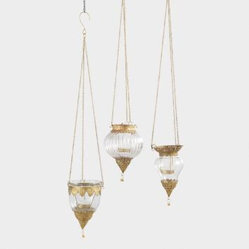 Antique Brass Indian Style Hanging Lantern Set of 3