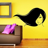 Makeup Wall Decal Vinyl Sticker Decals Home Decor Mural Make Up Girl Woman Eyes Face Lips Fashion Cosmetic Hairdressing Hair Beauty Salon Decor (6041)