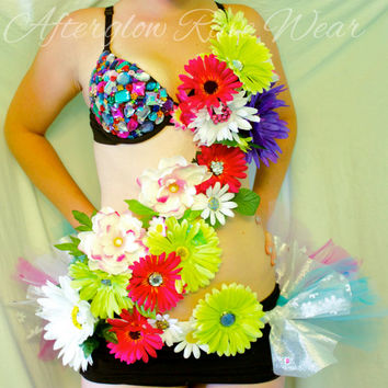 Garden Party Rave Outfit, rave bra and tutu connected for edc, ultra, shambhala, beyond, tommorowland, electric forest, plur festivals