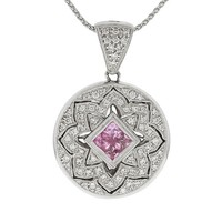 Pink Sapphire and Diamond Locket Pendant in 14K #62619