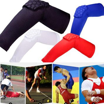 DCCKUH3 Brand New Breathable Crashproof Honeycomb Elbow Pad Support Protector Guards Pads Basketball Elastic Sweat Arm Sleeve Warmers