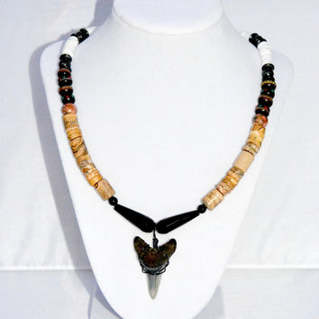 Black and Brown Onyx and Jasper Shark Tooth Necklace. Shark Tooth Pendant. Surfer's Jewelry. Nautical Jewelry. Beach Jewelry. Men's Jewelry