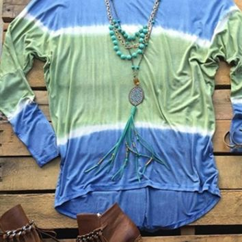 Our Knockin' On Heaven's Door Tunic Top - Blue would be so cute with a pair of leggings! It's a long sleeve tunic top that can be worn off the shoulder or on. Tie dye effect. Made to be loose fitting. Super soft and comfy!