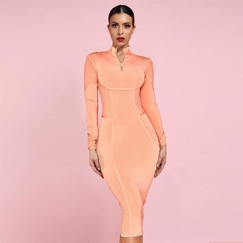Long Sleeve Zip Neck Midi Bandage Dress