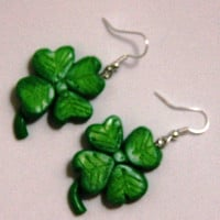 Shamrock Earrings, Four Leafed Clover Earrings, Polymer Clay Charm, St Patricks Earrings, Irish earrings, Kawaii Earrings