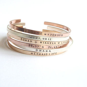 Rose Gold Personalized Bracelet/ Thin Gold Cuff/ Gift for Her/ Hand stamped Bracelet/ Grandma Gift/Stacking Bangle/ Inspirational Bangle