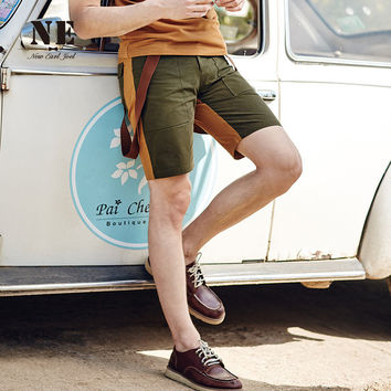 Summer Men Casual Patchwork Slim Pants Shorts [7951230723]
