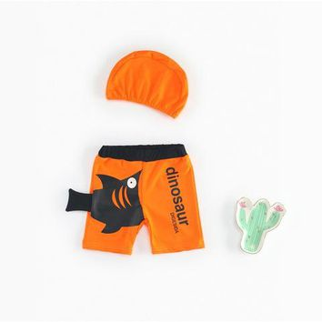 Childrens Swimsuit Cute Summer Baby Boys Swimwear Kids Children Animal Print Swimming Briefs Beach Holiday Board Trunks Bathing Suit Swimming Cap BK073 KO_25_2
