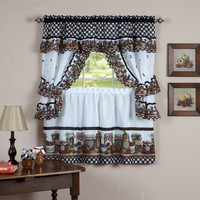 "Fruit Cornucopia Mason Jar Kitchen Curtain Tiers and Swag Cottage Set (57"" x 36"")"