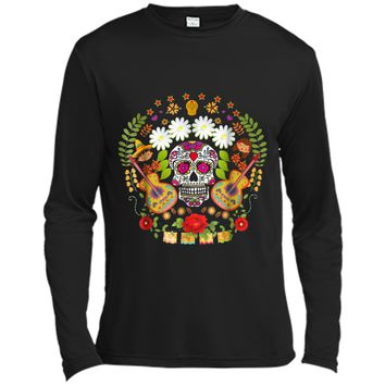 Day Of The Dead Tee  Mariachi Guitar Skull  Long Sleeve Moisture Absorbing Shirt