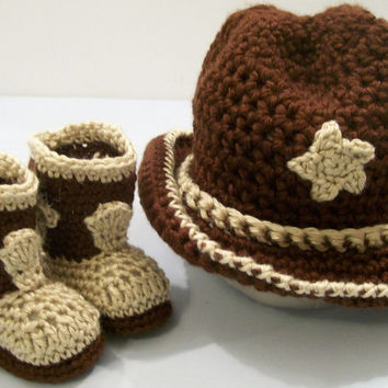 Baby Boys, Cowboy Gift Set, Crochet, Western Cowboy, Brown and Tan Cowboy Boots and Hat, #57