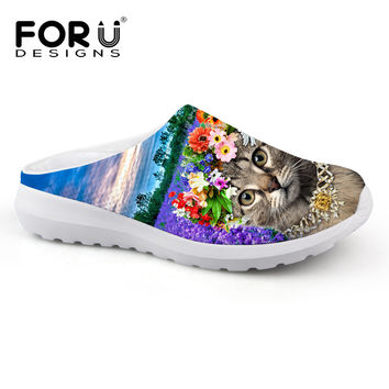 FORUDESIGNS Lady Slippers Breathable Mesh Shoes 3D Animal Pet Cat Print Women Casual Beach Sandals Slip-on Loafers Female Flats