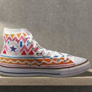 ICIKGQ8 tribal aztec painted shoes converse custom made