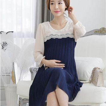 CREYUG3 2014 New Summer Plus Size XL Elegant 3D Embroidered Lace/Chiffon Maternity Casual Dress Pregnant Clothes/Wear to Pregnancy Women = 1946071300