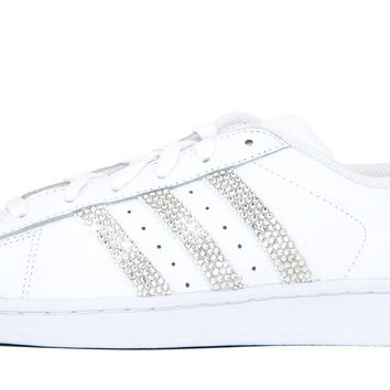 Adidas Superstar + Swarovski Crystals - Triple White