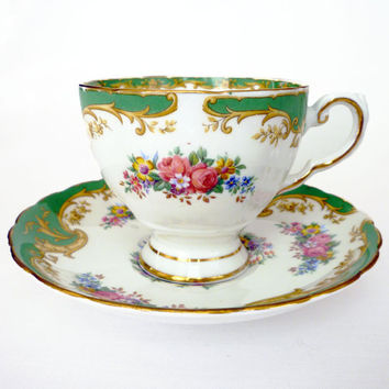 Tuscan Teacup, Naples, Tea Cup and Saucer, English Bone China, Made in England, Floral Print,