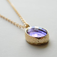 "Gold Necklace - Stone Necklace - Long Necklace - 24"" - Matte Gold Chain with Light Amethyst Glass Stone Pendant"