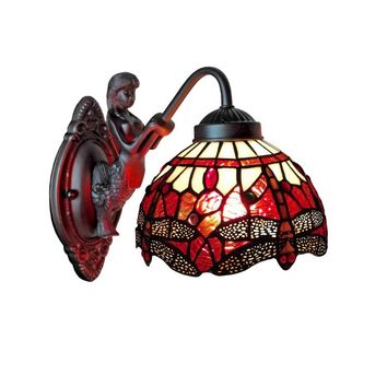 Amora Lighting AM097WL08 Tiffany Style Dragonfly Wall Sconce Lamp Fixture