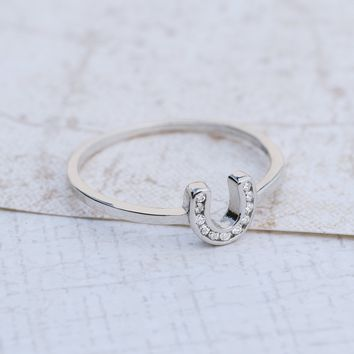 Lucky Sterling Silver Horseshoe Ring