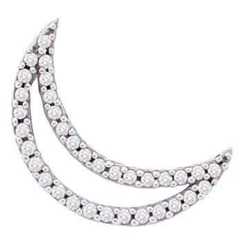 14kt White Gold Women's Round Diamond Crescent Moon Outline Pendant 1-6 Cttw - FREE Shipping (US/CAN)