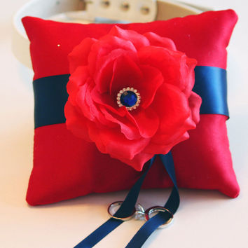 Navy Blue Red Ring Pillow, Ring Pillow attach to the High quality Leather Collar, Ring Bearer Pillow, Pet wedding accessory