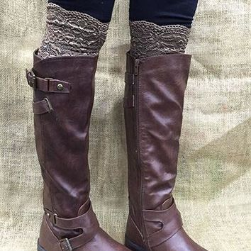 Brown Lace Boot Topper -CLOSEOUT