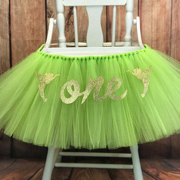 TinkerBell High Chair Tutu, High Chair Banner, Highchair Tutu, Tinker Bell first Birthday Smash Cake Birthday Party