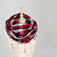 Red Plaid Infinity Scarf, Buffalo Black White Red Plaid, Cotton Circle Scarf, Fashion Cowl Scarf, Womens Scarves, Trending Scarves