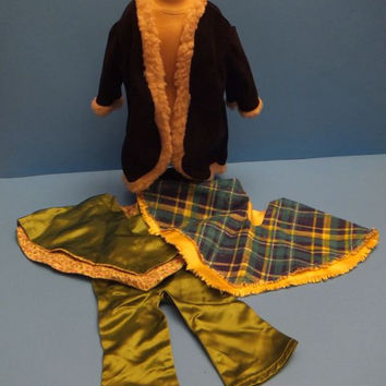 "Vintage 70s Doll Clothes / Mod / Poncho / Pimp Coat / Fringe / 18"" to 20"" / Green / Blue / Black / Hippie"