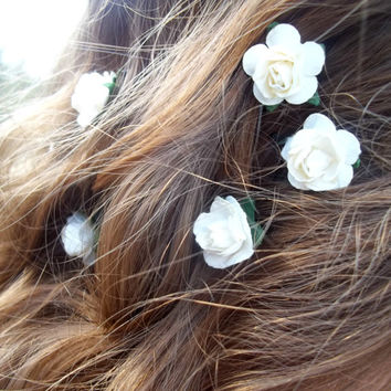 Small Cream/Ivory Paper Roses Bridal Hairpins  Black or Brown Bobby Pins Set of 3 Made to Order