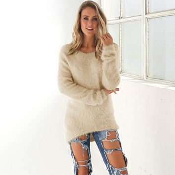 10 Color HOT SELL! women solid loose long knitted sweater 2016 Winter basic coat feminine casual mohair pullovers #Y190