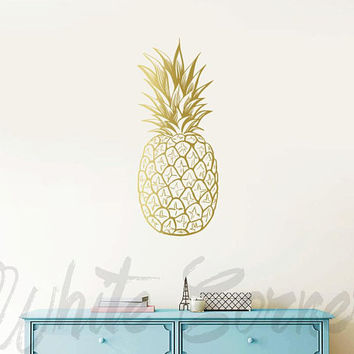 Pineapple Wall Decal - Large Wall Decal, Gold Vinyl Decals, Silver Decals, Pineapple Decor, Unique Gift Idea, Home Decor, Wall Art ga13