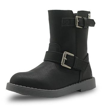 Girls Mid-Calf Winter Boots Pu Leather Fashion Children's Shoes New Solid Martin Boots for Girls Riding Boots