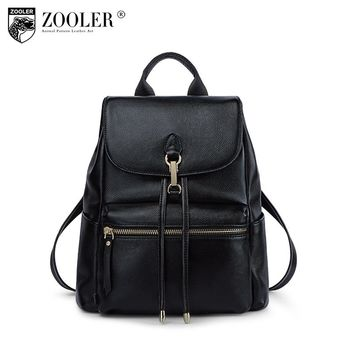 ZOOLER Brand Genuine Leather backpack women fashion bagpack cow leather hand bag school bags for girls Travel backpacks D100