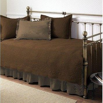 Chocolate 5-Piece Daybed Set with Quilt, Shams, & Bed Skirt