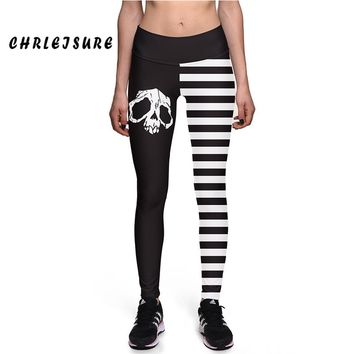 Classic Black White Stripes Skull Digital Print High Waist Fitness Leggings