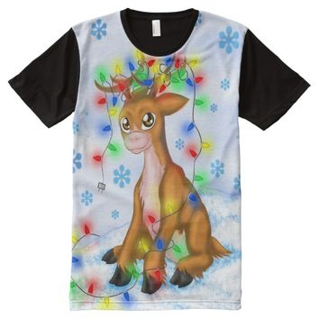 Christmas Lights Reindeer All-Over Print T-shirt