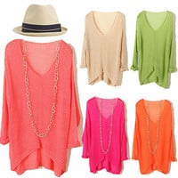 Summer V-neck Perspective Knit Bat Sweater (More Color) from McFashion