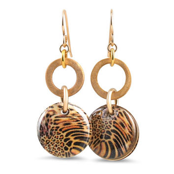 Every Girl Needs a Jaguar Circle Earrings with Bronze Hoops