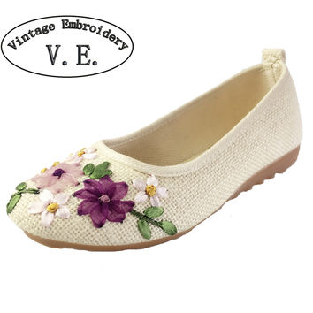 Vintage Embroidery Women Flats Flower Slip On Cotton Fabric Linen Comfortable Old Peking Ballerina Flat Shoes Sapato Feminino