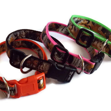 Real Camo on Orange, Pink, Green or Black Dog Collar