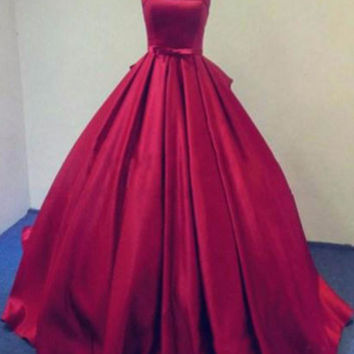 Strapless Satin A-Line Prom Dresses,Prom Dress