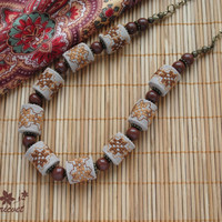 Jewelry «Ornament»  Handmade jewelry Embroidered Jewelry Embroidered necklace Beads Necklace Brown / Brown Lt