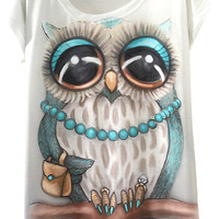 White Cute Owl Print Short Sleeve Graphic Tee