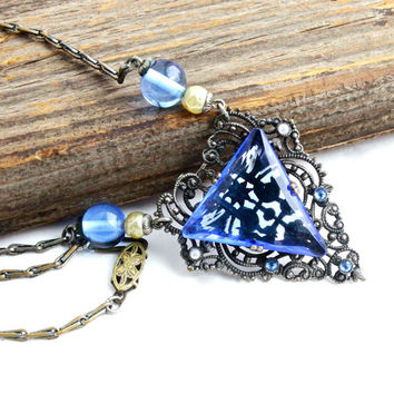 Antique Art Deco Blue Glass Necklace - 1920s 1930s Silver Tone Costume Jewelry / Sapphire Blue Filigree