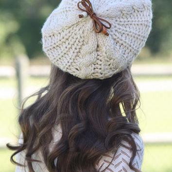 Beanie Hat- Light Tan, Ivory, Large Bow, Wood Beads, Leather Bow, Cable Knit, Knitted, Crochet, ivory lace, Christmas Gift.