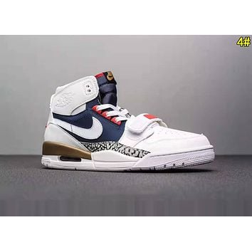 Nike Air Jordan Legacy Fashion Men Casual High Top Sport Sneakers Basketball Shoes 4# White