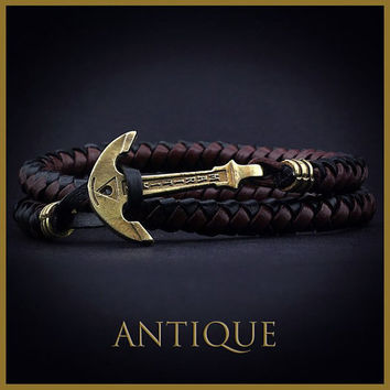 Leather Anchor Bracelet. Brown Black Mens Leather Bracelet. Leather Nautical Wrap Bracelet. Sea Bracelet. Bracelet for Man and Woman Jewelry