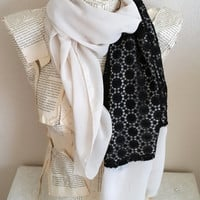 Chiffon with Lace Lightweight, Scarf in Ivory and Black, Circle Scarf, Shawl Scarf, Women Accessories