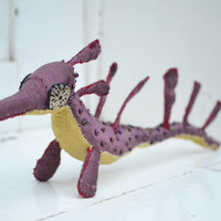 Weedy sea dragon fabric sculpture ,textile animal art, ocean creature, dusky red sea horse